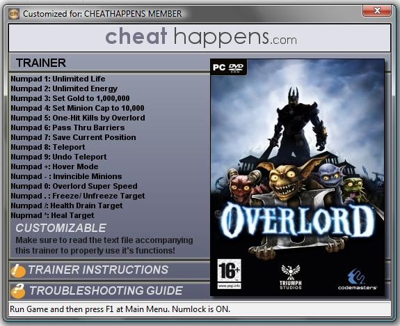Тренер для игры Overlord 2 от разработчиков тренера предыдущей